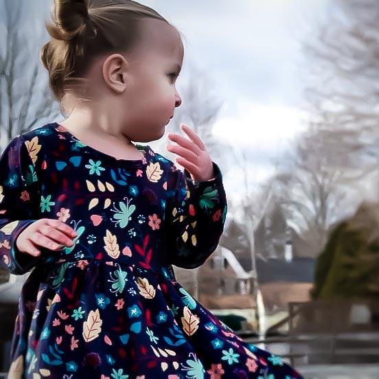 ComfyCute Twirl Dress - Twilight Blossoms
