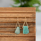 Raw Cut Stone Dangles. Available in Blush,Cobalt, Charcoal and Moss.