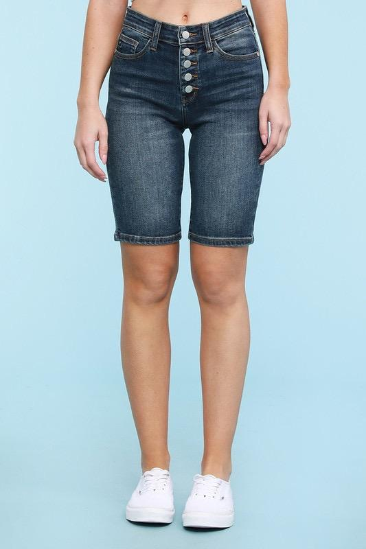 Button Me Up Judy Blue Bermuda Shorts