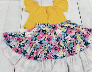 Yellow Lace Trim Top with Floral Hi-Lo Skirt