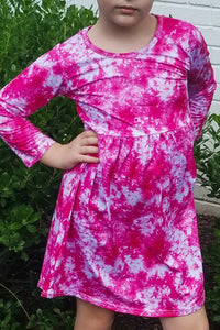 Pink and White Tie Dye Dress