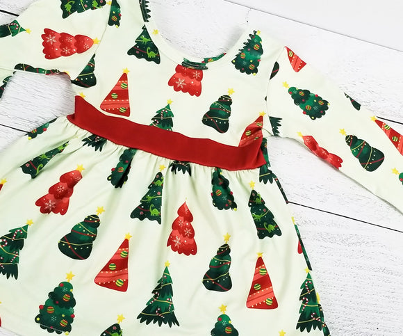 Hidden Dinosaurs Holiday Trees Dress with Leggings