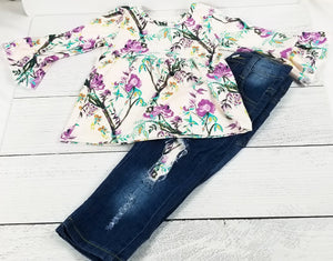 Sweet Floral Ruffle Sleeve Denim Outfit