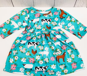 ComfyCute - Farm Floral Dress (3/4 Sleeve)