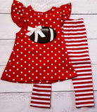 Striped Polka Dot Football Applique Outfit