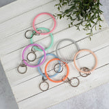 Bracelet Key Ring: Slim Silicone and Glitter in 8 colors