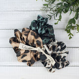 Hair Scrunch Set In Luxe Leopard (Natural/Teal/Cream)