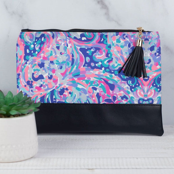 Watercolors Zip Clutch with Tassel