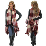 Into the Fringe Plaid Vest in Burgundy
