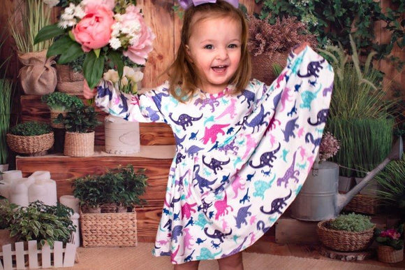 ComfyCute -  Pastel Prehistoric Pals Twirly Dress