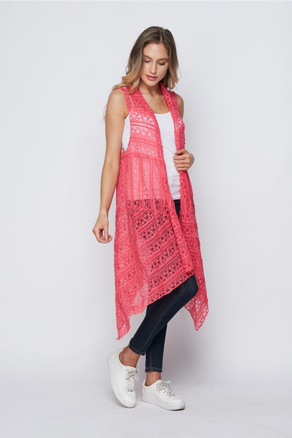 Cool in Coral Honey Me Lace Kimono (S-3XL)