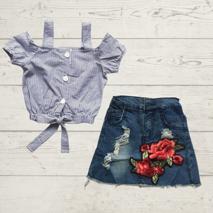 Distressed Denim Floral Skirt with Striped Top Outfit