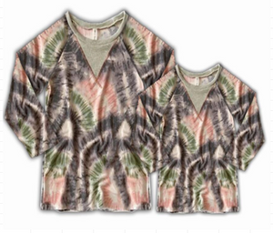 Greens and Grays Tie Dye Long Sleeve Shirt [PREORDER]