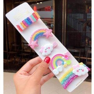 Holiday Hair Clip Set: Cheerful Rainbow Friends