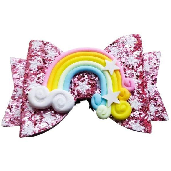 Pink Rainbow Sparkle Hairbow