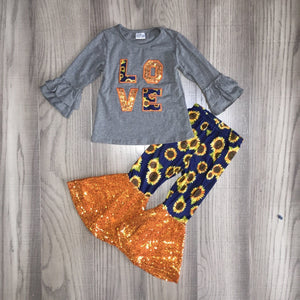 Love Sunflowers and Sequins Bell Bottom Outfit