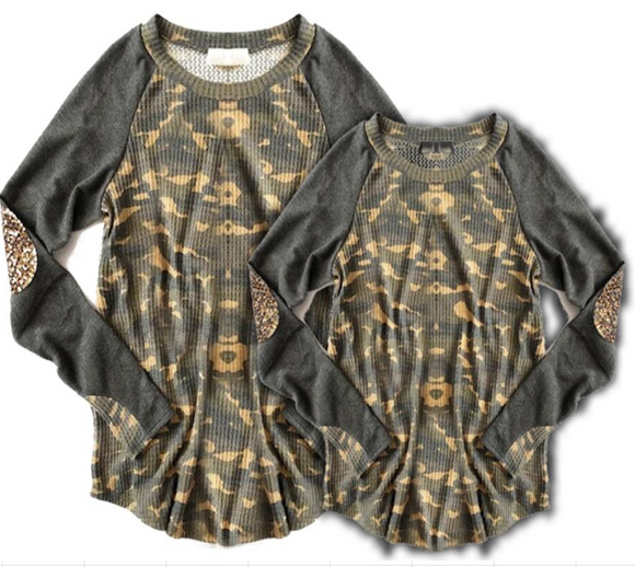 Long Sleeved Camo Tee with Leopard Elbow Patches [PREORDER]