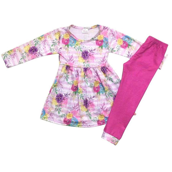 ComfyCute - Pink Floral Striped Dress with Pattern Accent Leggings