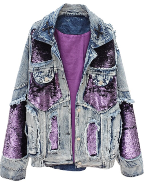 Purple Sequins and Denim Jacket Preorder