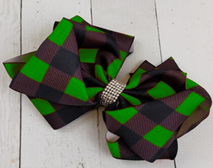 Green Plaid Sparkle Hairbow [PREORDER]