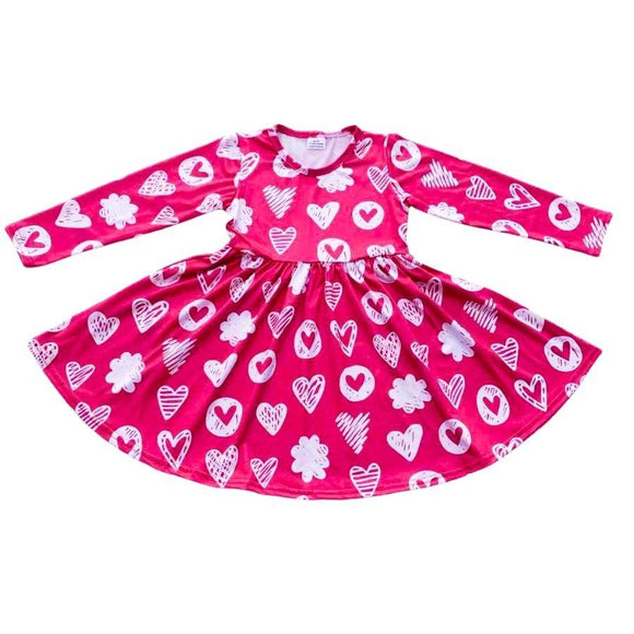 Valentine's Collection - Pink Doodle Hearts Dress