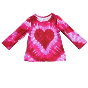 Pink Long Sleeve Tie-Dye Heart Tee