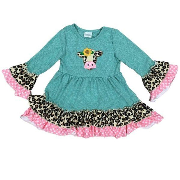 Deluxe Teal Sunflower Cow Ruffle Dress