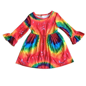 Primary Splotch Tie Dye Ruffle Sleeve Dress