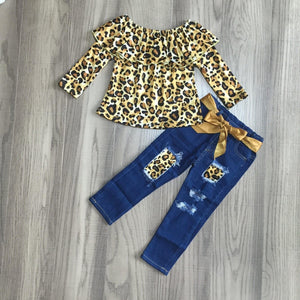 Golden Animal Print Top with Distressed Denim Bell Bottoms [PREORDER]