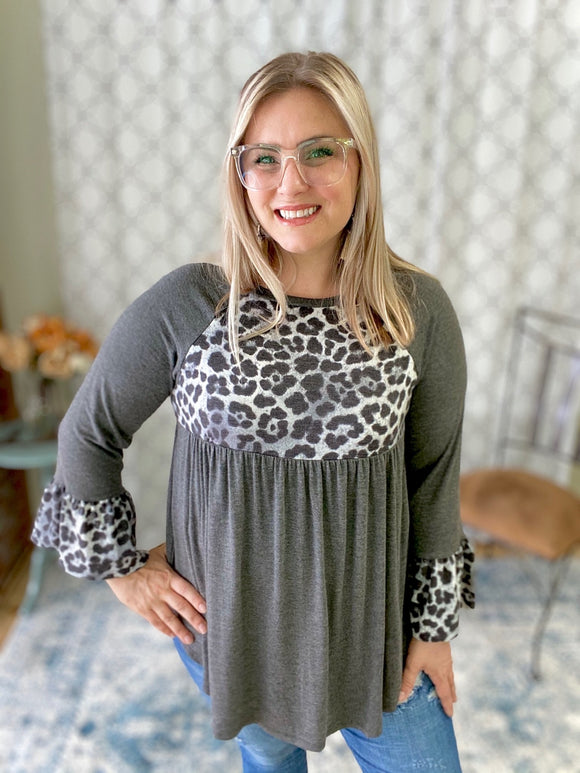 Lovely in Leopard Babydoll Top in Charcoal