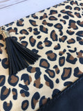 Leopard Animal Print Clutch with Tassel Zip
