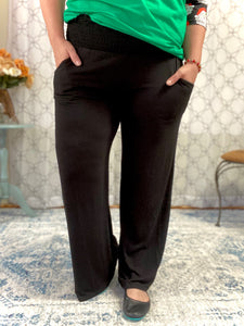 Simply Styled Smocked Waist Lounge Pants in Black
