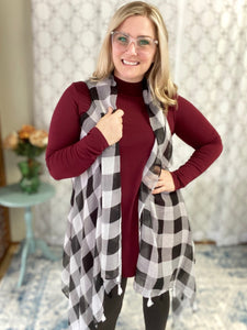 My Pretty Plaid Vest in White