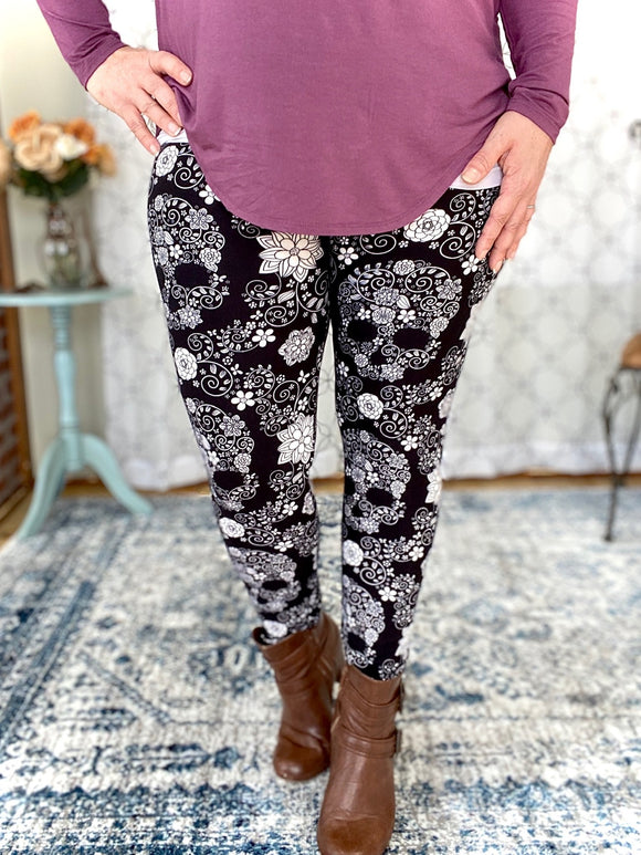 My Floral Skull Leggings