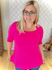Double Crossed Top in Hot Pink
