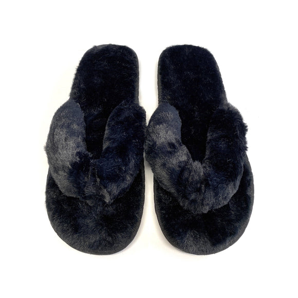 My Plush Flip Flop Slippers in Black