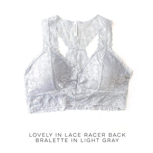 Lovely in Lace Racerback Bralette in Light Gray