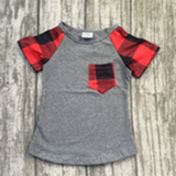 Gray/Red Plaid Basic Tee