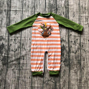 Striped Orange and Green Turkey Romper