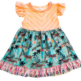 Peach Tiger Jungle Dress