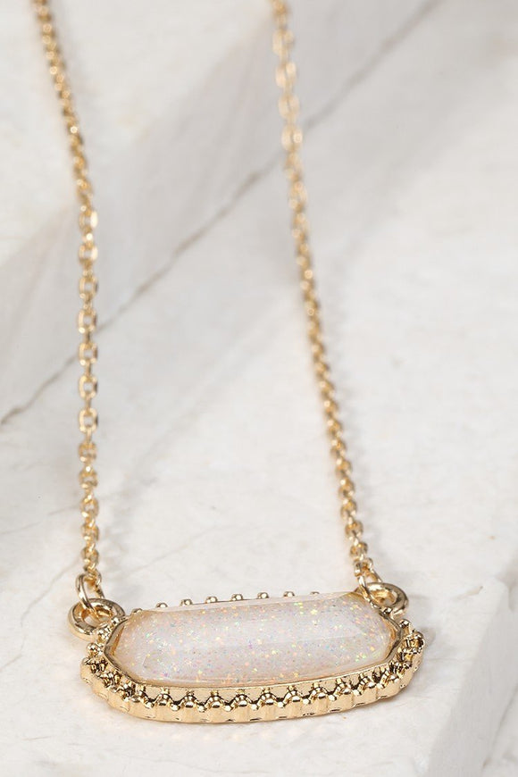 Resin Oval Ivory Necklace with Stud Earrings