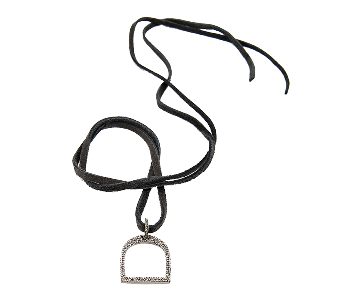 Leather With Large Stirrup Pendant
