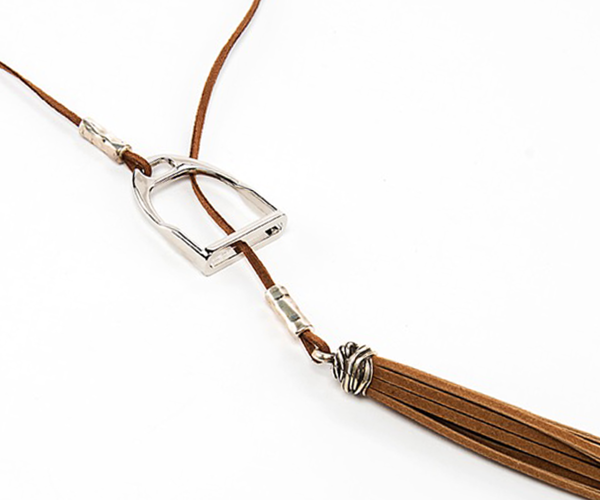 Suede Necklace With Stirrup Pendant
