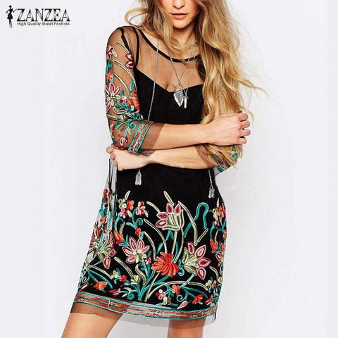 Women's Boho Vintage Embroidery Floral Lace Summer Dress