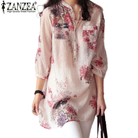 Women's Summer Casual Floral Print Long Blouse