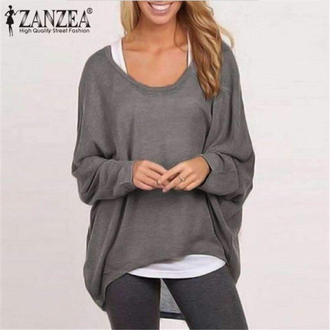 Women Batwing Long Sleeve Solid Color Blouse