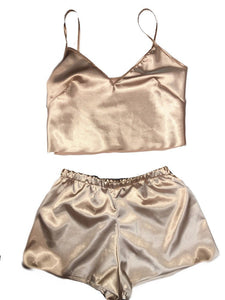 Champagne Silk Short Set