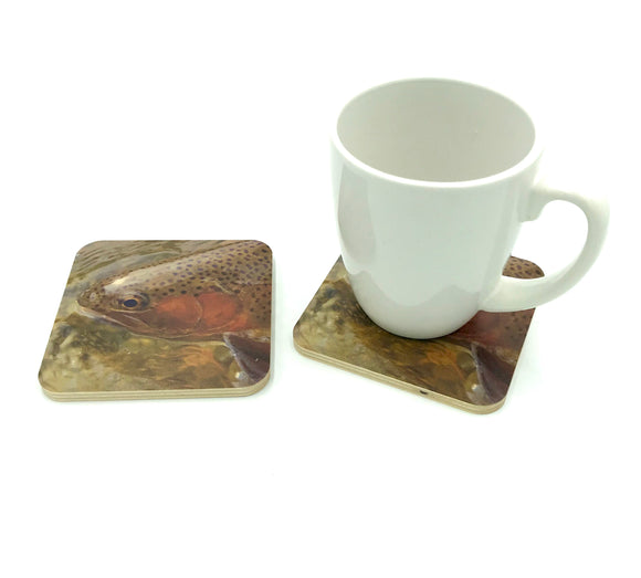 Coaster-Trout Face wood photo coaster