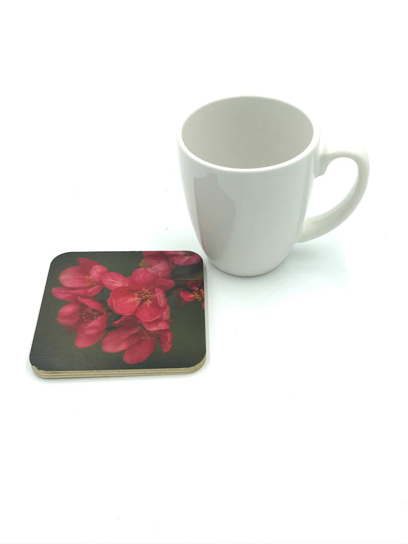Coaster-Pink Blooms wood photo coaster