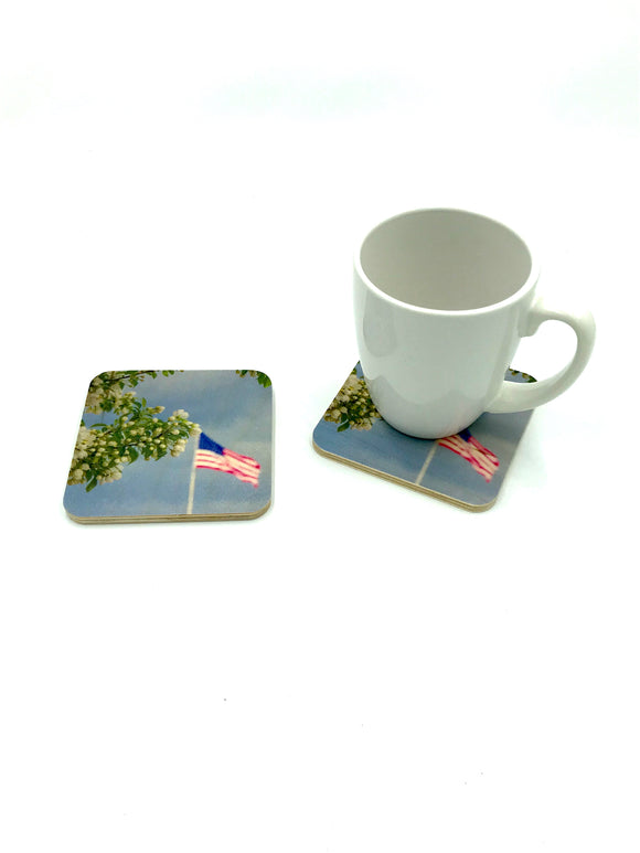 Coaster-Flag & Flower wood photo coaster